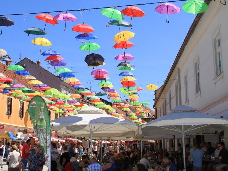 Coloured umbrella's Porcijunkolovo Cakovec, Croatia